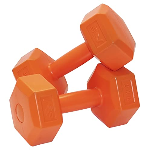 SportVida Hanteln Set Hexagon Hantel Gewichte Kurzhantel-Set aus Kunststoff | 2 Stück | Gewichtauswahl 1 – 6 kg | Gym Fitness Aerobic (3kg Orange)