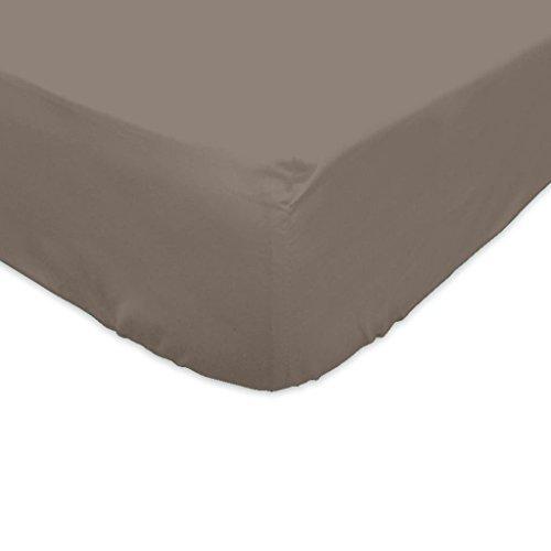 Soleil d'ocre Drap Housse 180x200cm Couleur Taupe 100% Coton
