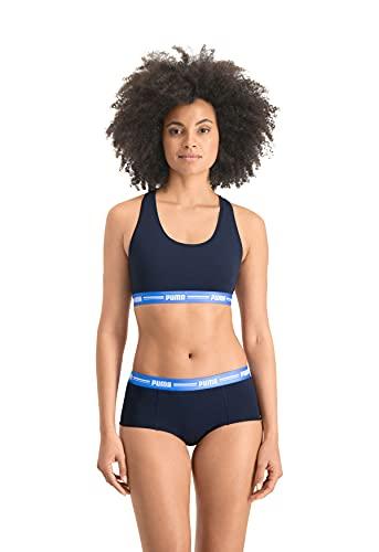 PUMA Women's Basic Mini Boxer Shorts, Blue, Extra Large