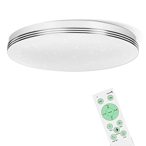EDISHINE Lámpara de techo LED, 24 W, lámpara LED de techo con mando a distancia, 3000-6500 K, lámpara de techo regulable para pasillo, salón, dormitorio, cocina, certificado CE