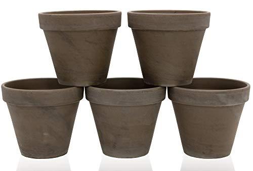 Tontöpfe 5 Stück mit Loch braun Blumentopf Made in Germany Terrakotta innen D=13,5 cm 5er Set