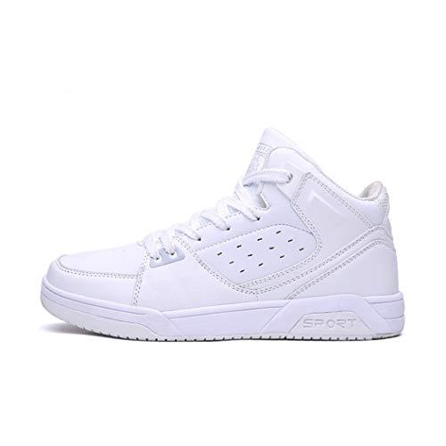 Zapatillas de Baloncesto Verano Blanco para Hombres y Mujeres Pareja Zapatillas de Deporte Deportivas al Aire Libre Ocasionales de Alta Top Zapatillas Antideslizantes