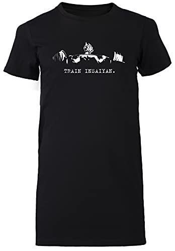 Train Insaiyan Negro Vestido Largo Mujer Camiseta Tamaño L Black Dress Long Women's tee Size L