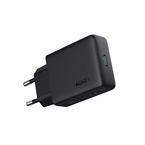 AUKEY USB C Cargador de Red, 27W con Power Delivery 3.0 Cargador de Pared USB Compatible con MacBook, iPad Pro Air, iPhone SE, Google Pixel 4XL, Nintendo Switch, AirPods Pro, Samsung S10/S9, LG, Sony