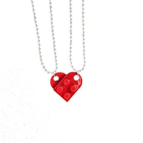 2Pcs Cute Love Heart Brick Pendant Necklace for Couples Friendship Women Men Girl Boy Lego Elements Valentine's Day Jewelry Gift