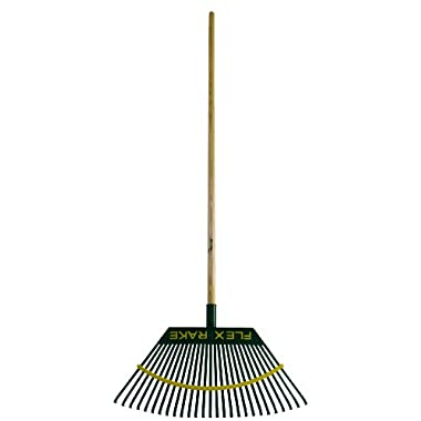 Flexrake 2W Lawn Rake 21-Inch Poly Head with 48-Inch Wood Handle