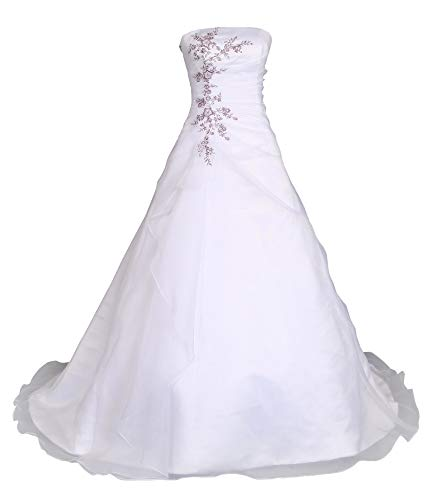 Romantic-Fashion Brautkleid Hochzeitskleid Weiß/Lila Modell W030 A-Linie Satin Stickerei Zweifarbig DE Größe 50