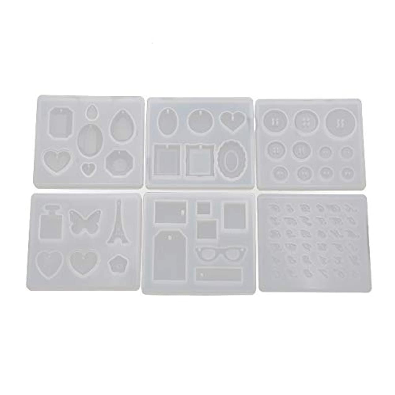 Yalulu 6Pcs Multi Style Necklace Silicone Mold Button Number Letter Resin Silicone Mould Handmade DIY Jewelry Pendant Making Epoxy Resin Molds puvusgilffzge094