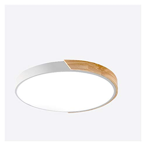 Lámpara de techo Luces de techo LED Lámpara de techo moderna ultra delgada Dormitorio de la sala de estar de madera regulable Luminaria redonda. ( Body Color : White , Emitting Color : Dimmable )