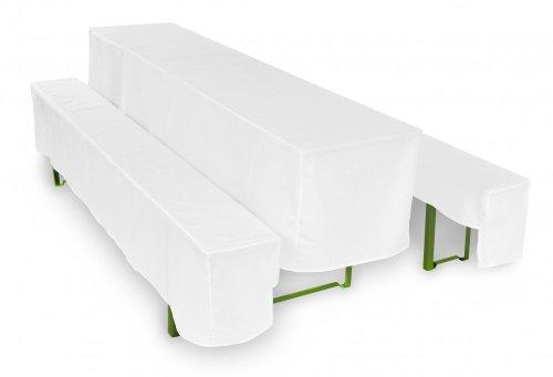 TexDeko Bierbankhussen für Bierzeltgarnituren 3TLG. Set Basic KURZ - Biertisch 50cm Weiß