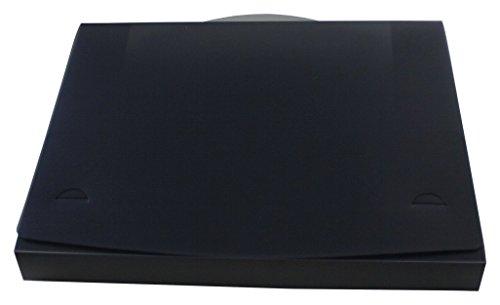 exxo by HFP/Boîte de documents A4 avec poignée de transport, 325 x 260 x 32 mm 325 x 260 x 32 mm noir transparent