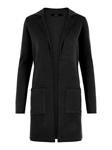 Vero Moda Vmtasty Fullneedle LS New Coatigan Noos Abrigo, Negro (Black Black), 36 (Talla del Fabricante: X-Small) para Mujer
