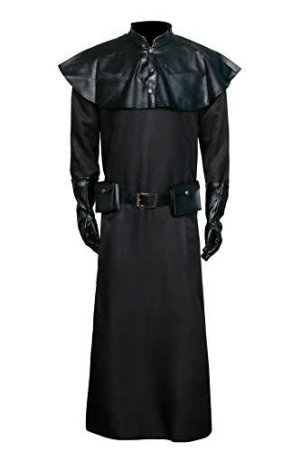 NUWIND Plague Doktor Pest Arzt Kostüm Mittelalter Steampunk Schwarz Kapuze Halloween Cosplay Rollenspiel Outift für Erwachsene (M)