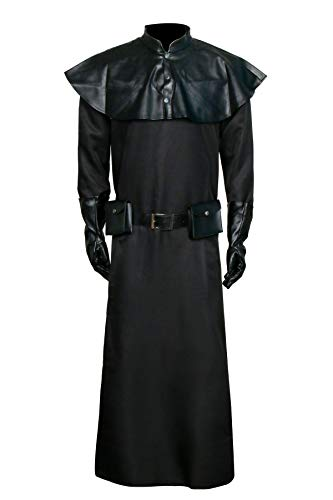 Nuwd Plague Doctor Disfraz Cosplay de Halloween Steampunk Medieval Fancy Dress Vestido negro juego de rol para adultos Negro L