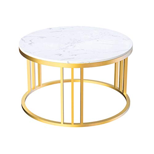 Coffee Table Mid-Century Round Furniture Set Of 2 Small Large Nest Tables Side End Table, Marble Top, Gold/White