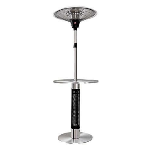 Elektrische infrarood terrasverwarming buitenshuis & afneembare tafelconstructie, in hoogte verstelbaar, met 3 standen vrijstaand.