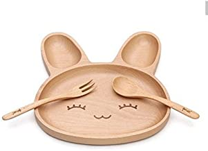 Natural Bamboo Baby Feeding Set 3pcs Includes Plate, Spoon and Fork,BPA Free Infant and Kid Friendly - 7.8`` (1)