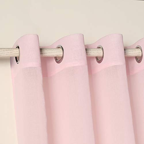 PimpamTex - Cortina Decorativa Translucida con 8 Ollaos Metálicos, Visillos para Salón o Dormitorio, Moderna y Original Variedad de Colores, Modelo Molly (140 x 270 cm, Rosa)