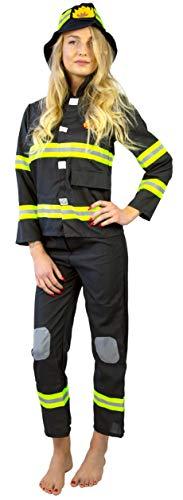 Nick and Ben Feuerwehrmann Feuerwehrfrau Kostüm für Kinder | 3-teilige Verkleidung für Karneval | Hut Oberteil Hose | schwarz gelb: Größe: M(140)