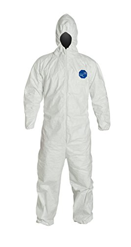 DuPont Tyvek 400 TY127S Disposable Protective Coverall with Respirator-Fit Hood and Elastic Cuff, White, 2X-Large (Pack of 25)