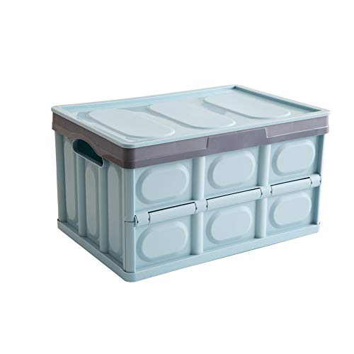 Somine Collapsible Storage Box with Lid (52 Liter) Foldable Utility Crate for Closet, Home, Car, & Travel Organization | Heavy-Duty Plastic Organizers, Carry Handles | Space Saving