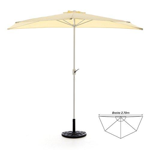 Nexos GM35096_SL Komplett-Set Sonnenschirm Champagner Halb-Schirm Balkonschirm Wandschirm halbrund 2,70m mit passendem Schirmständer und Schirmschutzhülle, Beige, 270 x 140 x 235 cm