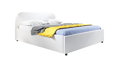 muebles bonitos Cama de Matrimonio con canapé Lexy en Color Blanco (150x190cm)