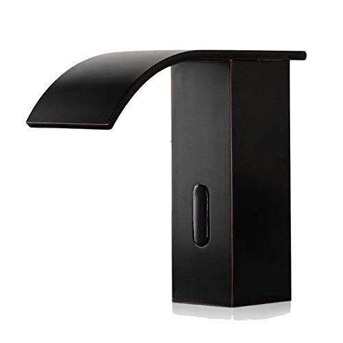 JRUIA Automatischer Infrarot Sensor Kaltwasser Wasserhahn Vollautomatik IR Wasserfall Waschtischarmatur Bad Waschbecken Armatur Hoher Auslauf aus Messing Schwarz Öl Eingerieben Bronze (H14.5cm)