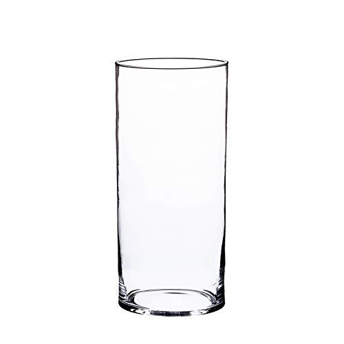 INNA-Glas Jarrón cilíndrico de Cristal Sansa, Transparente, 30cm, Ø 15cm - Maceta de Mesa - Vidrio Decorativo