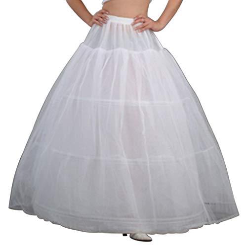 Haptian 3 Cerceaux De Mariée Crinolines Jupon Robe De Mariée Robe De Mariée sous Le Jupon(Blanc)