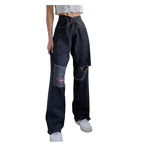 Y2K Jeans Baggy Boyfriend Jeanshosen für Damen, Damen High Waist Jeans Straight Slim Denim Stretch Lang Jeanshosen Mit Gummizug