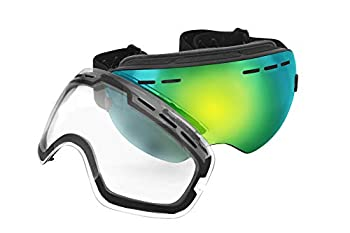 Mira - Ski Goggles With Two Changeable Lenses for all Weather Conditions - Ultra Wide Panoramic Lenses - Anti-Fog Anti-Wind UV400 Protection - OTG Wear Over Glasses - Snowboarding Goggles
