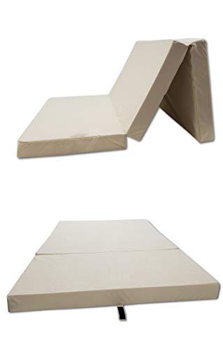 Odolplusz Colchón plegable para cama plegable, fabricado en la UE, se puede utilizar como colchón para invitados (beige, 80 x 200 cm)