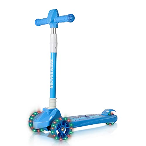 LAWASEN Kick Scooter for Kids, 3 Flash Wheel Scooter, Adjustable Height, Lean-to-Steer, Outdoor Activities for Boys and Girls