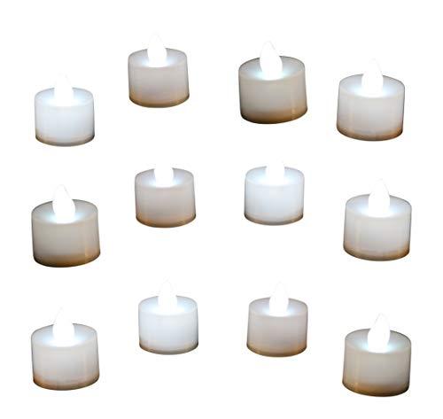 12 Candele a Batteria Bianche - Lumini LED da Tavolo con Fiamma Finta Oscillante per Camera, Feste, Nozze di PK Green