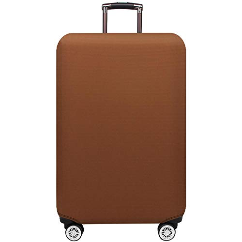 Monochrome Elastic Travel Luggage Cover Solid Color Luggage Protector Spandex Suitcase Cover Suitcase Protector Trolley Case Protective Cover Fits 18-28 Inch Luggage with Zipper Brown XL(29'-32')