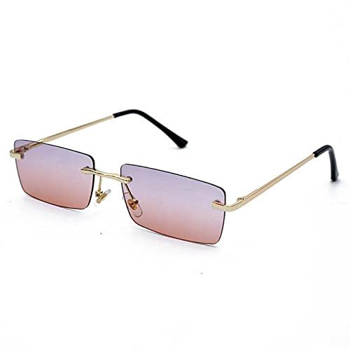 WANGZX Gafas De Sol Rectangulares Personalizadas para Mujer Gafas De Sol para Hombre Gafas De Sol Graduadas Polarizadas Cuadradas Sin Marco Uv400 Purplepink