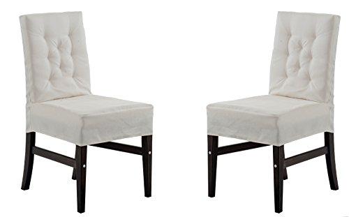 Ambientehome 2 chaises avec housses grises blanches série marihamn, très élégant