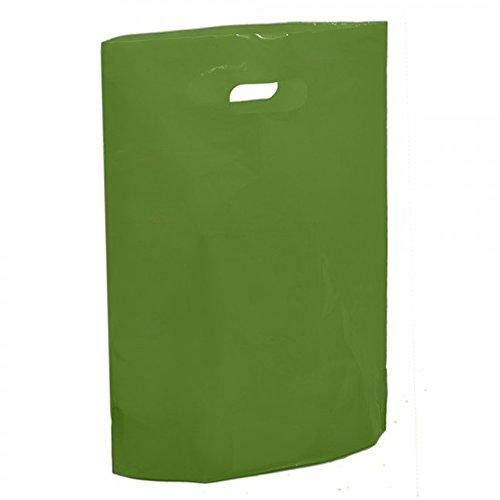Harrods grüne Kunststoff-Tragetaschen – 38,1 x 45,7 x 7,6 cm große farbige Tasche – wiederverwendbar Grün - Harrods Green