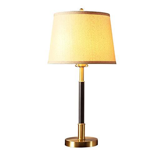 Lámpara de mesa moderna de cobre de metal, lámpara de escritorio decorativa de tela creativa, lámpara de lectura de noche de dormitorio para dormir E27