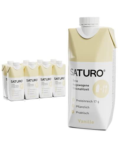 SATURO® Trinknahrung Vanille | Astronautennahrung Mit Protein & 330kcal | Vegane Trinknahrung Mit Wertvollen Nährstoffen | 8 x 330ml
