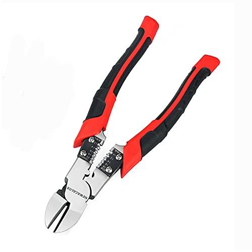 Side Cutting Pliers, Industrial Pliers with Wire Stripper/Crimper/Cutter Function, Heavy Duty Cutter Plier, 8 inch NEWACALOX (black)