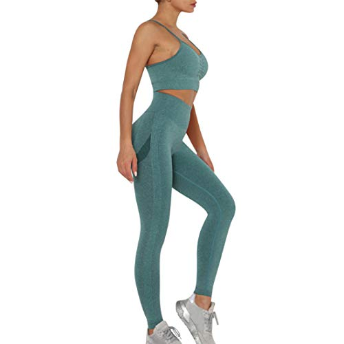 MUYOGRT - Chándal de deporte para mujer, para correr, hacer yoga, entrenar, de 2 piezas, manga larga, leggings de cintura alta, para gimnasio, ajustado A verde S