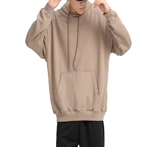 guiyuan suéter con Capucha para Hombre de Color Liso con Capucha de Felpa Suelta con Hombros caídos par marrón XXL