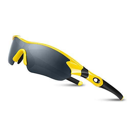 Bea Cool Sportbrille Sonnenbrille Herren, Polarisierte Sport Brille mit UV400 Schutz TAC Sportsonnenbrille PC Rahmen für Radfahren, Laufen, Outdoor-Aktivitäten (Gelb)