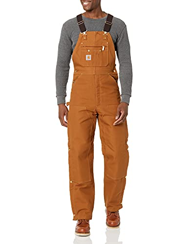 Carhartt mens Quilt Lined Zip To Thigh Bib Overalls Brown 34 x 32