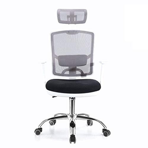 Atmungsaktiver Mesh Staff Office Chair, ergonomisches Design, Gebogene Kurve, Sitz zum Einstellen der Dose, geeignet für Büroangestellte, weiß