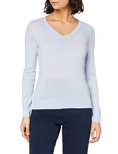 Marchio Amazon - MERAKI Pullover Lana Merino Donna Scollo a V, Blu (Light Blue), 42, Label: S