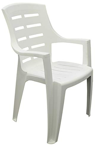 Strong Plastic Patio Garden Chairs Stackable Strong Outdoor Chairs & Arms White