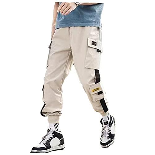 Tuimiyisou Multi Carretera Hombres de Trabajo Bolsillo del pantalón Slim Fit Casual Basculador del pantalón